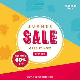Online Editable Abstract Summer Sale Offer Facebook 3D Post