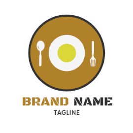 Online Editable Yellow and Black Cutlery and Plate Restaurant Logo