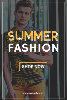 Online Editable Yellow Fancy Font Summer Fashion Pinterest Graphic