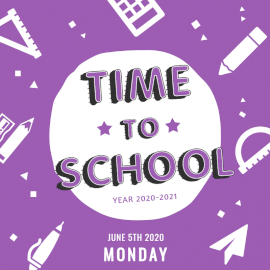 Online Editable Violet Time to School Social Media Post