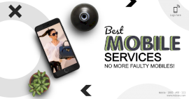 Online Editable White Best Mobile Services Photo Mockup