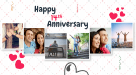 Online Editable Happy 14th Wedding Anniversary 6 Photo Collage