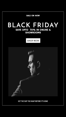 Online Editable Black Friday Sale for Men's Apparel GIF Post