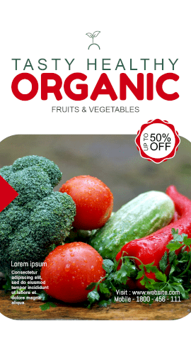 Online Editable Sale of Fresh Organic Vegetable and Fruits Offer GIF Post