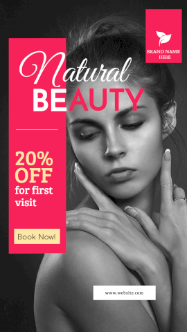 Online Editable Offer for Natural Beauty Parlour for Women's Makeup GIF Post