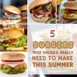 Online Editable Collage of Burger Variety for Summer Square GIF Post