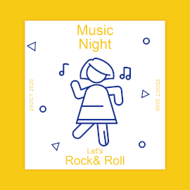 Online Editable Rock and Roll Night Music Party GIF Post