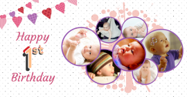 Online Editable Baby Boy First Birthday 7 Photo Collage