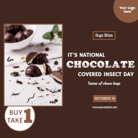 Online Editable National Chocolate-Covered Insect Day October 14 Social Media Post