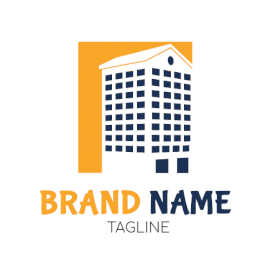 Online Editable Yellow and Blue Tall Building Architecture & Construction Logo