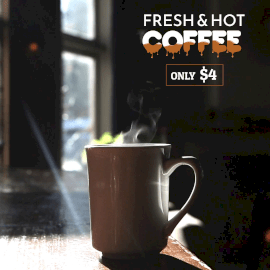 Online Editable Coffee Advertisement with Snow Movement Cinemagraph