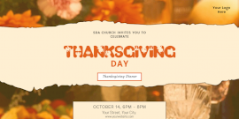 Online Editable Thanksgiving Day Dinner Twitter Post