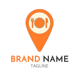 Create an Orange and White Location Icon with Plate and Spoon Shaped Logo