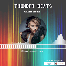 Online Editable Multicolor Thunder Beats Music Audiogram