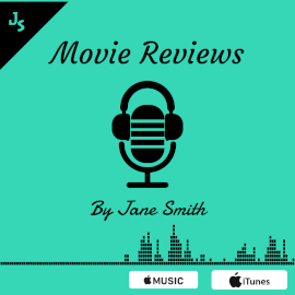 Online Editable Cyan Movie Review Podcast Audiogram