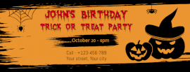 Online Editable Trick and Treat Birthday Party Design Facebook Post