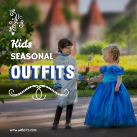 Online Editable White and Blue 3D Font Kids Outfit Social Media Post
