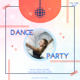 Online Editable Dance Party Promotion Poster Social Media Post