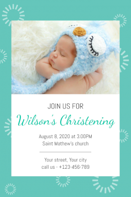 Online Editable New Born Naming Ceremony Pinterest Graphic