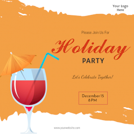 Online Editable Holiday Party Poster Social Media Post
