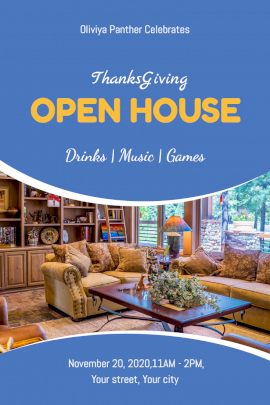 Online Editable Thanksgiving Open House Party Pinterest Graphic