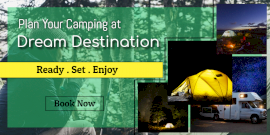 Online Editable Camping Promotion Twitter Post