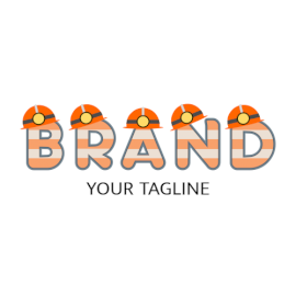 Online Editable Orange Hard Hat on Text Architecture & Construction Logo