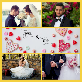 Online Editable You and Me Wedding Photos 4 Photo Collage