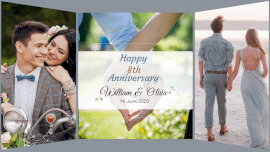 Online Editable William and Oliva Happy 8th Anniversary 3 Photo Collage
