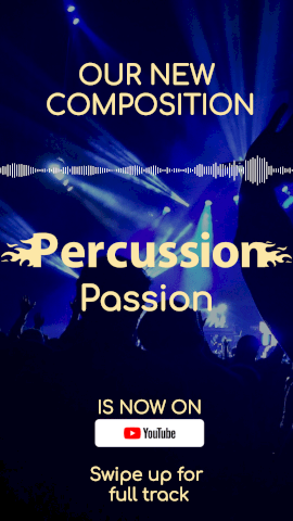 Online Editable Blue Percussion Circular Music Audiogram