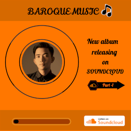 Online Editable Orange and Balck Soundcloud Music Audiogram
