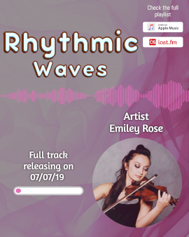 Online Editable Light Purple Rhythmic Waves Music Audiogram