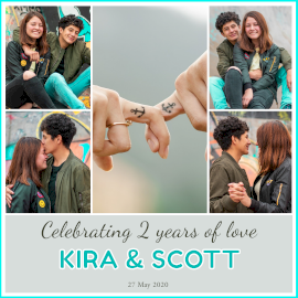 Online Editable Happy 2nd Anniversary 5 Grid Photo Collage