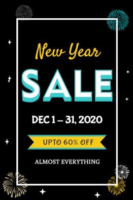 Online Editable New Year Sale Offer Pinterest Graphic