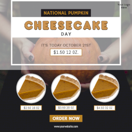 Online Editable National Pumpkin Cheesecake Day Social Media Post