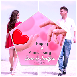 Online Editable Happy First Love Anniversary 2 Grid Photo Collage