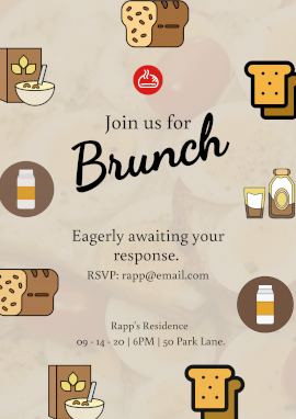 Online Editable Brunch Restaurant Invitation Poster Marketing Materials