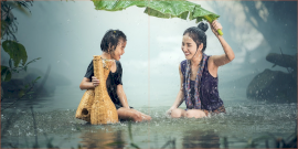 Online Editable Mom and Daughter Enjoy in Rain 2 Square Instagram Photo Grid