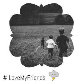 Online Editable Monochromatic Love my Friends with Clouds Movement Animated Design