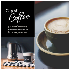 Online Editable Cup of Coffee Instagram Post 2 Grid Photo Collage