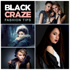 Online Editable Black Fashion Models 4 Grid Photo Collage