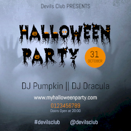 Online Editable Devils Club Halloween Party Facebook 3D Post