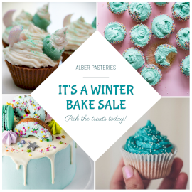 Online Editable Winter Cupcakes Sale 4 Grid Photo Collage