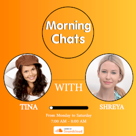 Online Editable Orange Tina and Sherya Morning Chats Podcast Audiogram