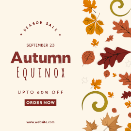 Online Editable Fall Leaves Autumn Equinox Sale Facebook 3D Post
