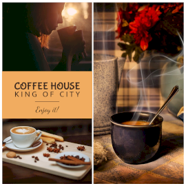 Online Editable Coffee House 3 Grid Photo Collage