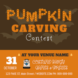 Online Editable Pumpkin Carving Contest Animated Design