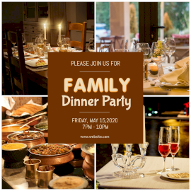 Online Editable Family Dinner Party 4 Grid Photo Collage
