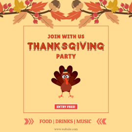 Online Editable Thanksgiving Party Invitation Animated Design