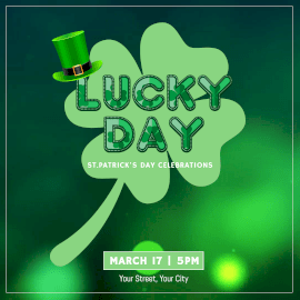 Online Editable Green St Patricks Day Party Animated Design